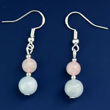 Gemstone Earrings with Sterling Silver Hooks Rose Quartz & Aquamarine New LB204