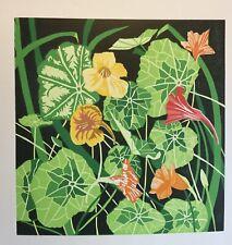 """Andy Tromans lino print original """"Nasturtiums"""""""
