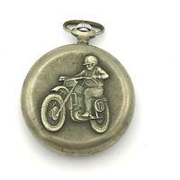 Vintage MOLNIJA Quartz Pocket Watch Motorcyclist USSR Date Rare Russia Original