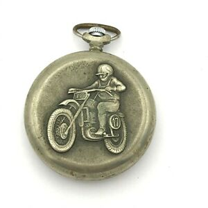 Vintage MOLNIJA Quartz Pocket Watch Motorcyclist USSR Date Rare Russia Original