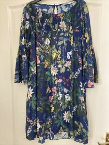 Blue Floral Zara Tunic Smock Dress Medium 12/14
