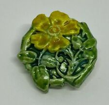 SMALL ART NOUVEAU STYLE VINTAGE (Wild) ROSE BROOCH YELLOW & GREEN, HAND CRAFTED