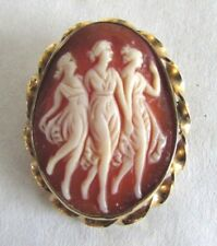 Vintage Three Graces Cameo Brooch Pendant - Gold Filled - Signed Classic Piece