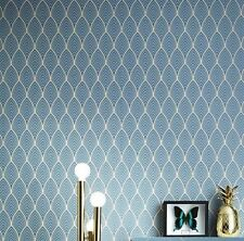 Rouleau de papier peint vinyle intissé art déco bleu canard et doré  PADBLM5