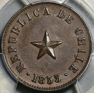 1853 PCGS MS 63 Chile 1/2 Medio Centavo Star Mint State Coin (20103105C)
