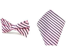 Mens Bowtie Pocket Square 8.5 cm Stripe Wedding Groomsmen Ties CHOOSE COLOR