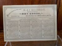 Antique Boston Advertising Trade Card 1882 Calendar R J Gilchrist Dry Goods