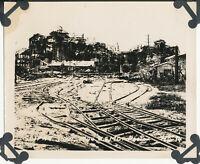 WWII  June 1944 Marines on Saipan, USMC 4x5 Photo #4 wrecked factory train track