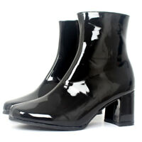 Women Patent Leather Plus Size Ankle Boots Block High Heel Shoes Cosplay Booties