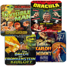 Classic 1930s Horror Movie Poster Coasters Set Of 4 High Quality Cork. Film Gift