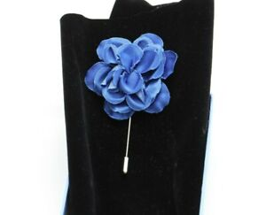 LANVIN Blue Satin Gardenia Flower Suit Collar Pin NEW