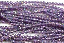 Czech Fire Polished 4mm round faceted glass beads- Luster Iris Tanzanite