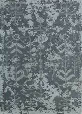 Transitional Grey Black 5X8 Feet Wool Viscose Floral Pattern Hand Tufted Rug