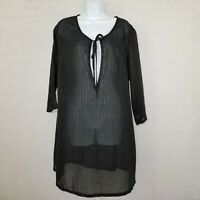 Avenue Womens Sheer Shirt Tunic Blouse Top NWT Black Plus Size 18 20 Long Sleeve