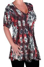 Womens Casual Floral Print V Neck Plus Size Ladies Flared Swing Tunic Top