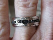 1.30ctw GENUINE HEAVY BLACK DIAMOND ETERNITY BAND RING!! MENS WEDDING RING, NICE
