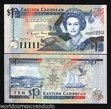 EAST CARIBBEAN STATES ANGUILLA $10 DOLLARS P27 U 1993 QUEEN SHIP TURTLE UNC NOTE