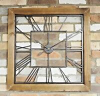 71cm Industrial Large Wood & Metal Square Skeleton Roman Numerals Wall Clock