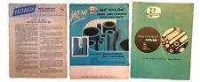 5 Vintage 1959 Plexiglas Polypenco Nylon Physical Properties Technical Bulletins