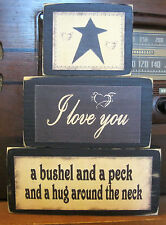 I Love You A Bushel and A Peck Primitive Rustic Stacking Blocks Wooden Sign Set