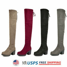 Womens Over The Knee Boots Thigh High Block Heel Boots Clubwear Party Boots