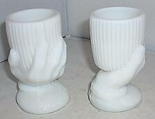 2 VINTAGE WHITE MILK GLASS BEGGERS HAND TOOTHPICK MATCH STICK HOLDER EGG CUP