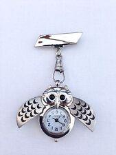 Owl Nurses Beautician Fob Watch Brooch Pin Medical Tunic (Free UK Postage)