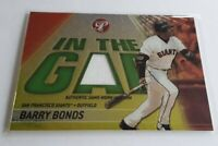 2002 Topps Pristine Barry Bonds Game Worn Jersey In the Gap Insert S# /1000