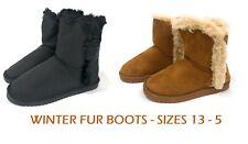 Girls Womens School Snug Warm Winter Ankle Faux Fur Lined Shoes Boots Sz 13-5