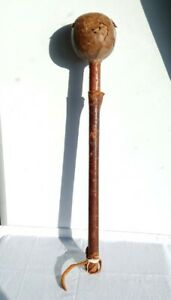 Antique/ Vintage Leather Bound Wood Club, Fighting War African Fiji ? See Desc