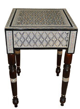 """16"""" Square Egyptian Mother of Pearl Inlaid Side Table, Moroccan Mosaic Table"""