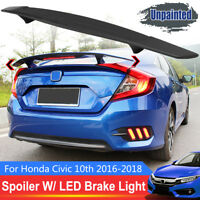 FOR 2016-18 HONDA CIVIC FC 10TH GEN R STYLE REAR TRUNK SPOILER WING W/ LED