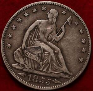 1855 Philadelphia Mint Silver Seated Half Dollar with Arrows
