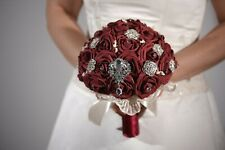 Bride Wedding Bouquet Large Rhinestones Crystal Brooch Bridal fomam Rose Flower