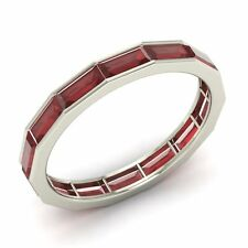 Certified Emerald Cut Garnet Wedding Band/Ring in Solid 10k White Gold- 5.24 Cts