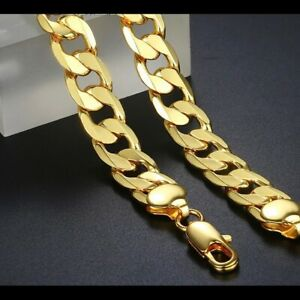 12mm Men Yellow Gold Filled Cuban Link Chain Necklace