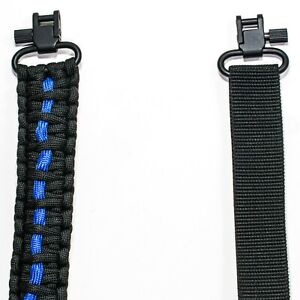 """550 Paracord 2 POINT - GUN SLING WITH 1/8"""" PIN SWIVEL THIN BLUE LINE/BLACK"""