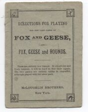 1887 Directions for the new Card Game Fox & Geese McLoughlin Bros New York
