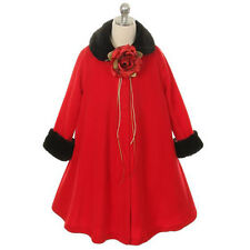 RED Jacket Coat Fleece Style Fur Trim Winter Fall A-Line Flower Girl Dresses