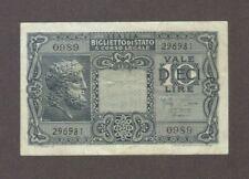 1944 10 LIRE ITALY ITALIAN CURRENCY BANKNOTE NOTE MONEY BANK BILL EUROPE WWII