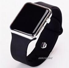 New Digital LED Rectangular Screen Silicon Band Wrist Watch Men Women Kids