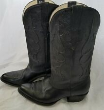 Leather Stagecoach Bookmakers Black Western Cowboy Boots Men's Size 8.5 EE
