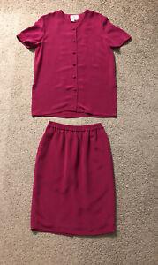Adrianna Papell 100% Silk Skirt Suit Sz Petite 8🌷Buttons Up & Skirt🌷Fuchsia🌷