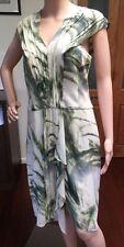 Saba Light Palm Silk Dress Size 10 Sleeveless Above Knee White Green Ne