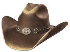 New! Western Suede Like Hat - Sunburst Concho - Brown & Camel