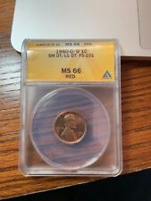 ANACS 1960-D/D RPM 100 Small Date over Large Date Doubled Die Obverse MS66 Red