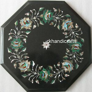 12 Inches Marble Coffee Table Top Inlay End with Malachite Stone Royal Art