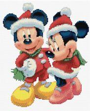 "Christmas Mickey & Minnie White Counted Cross Stitch Kit  9""x11"" Disney Free P&P"