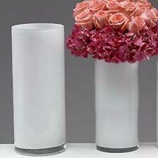 White Glass cylinder vase 30cm high 10cm diam florist flower table bridal opaque