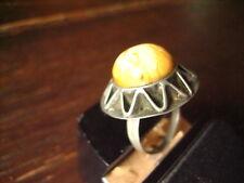 origineller Art Deco Bernstein Ring Butterscotch Amber ausgefallen Handarbeit 54